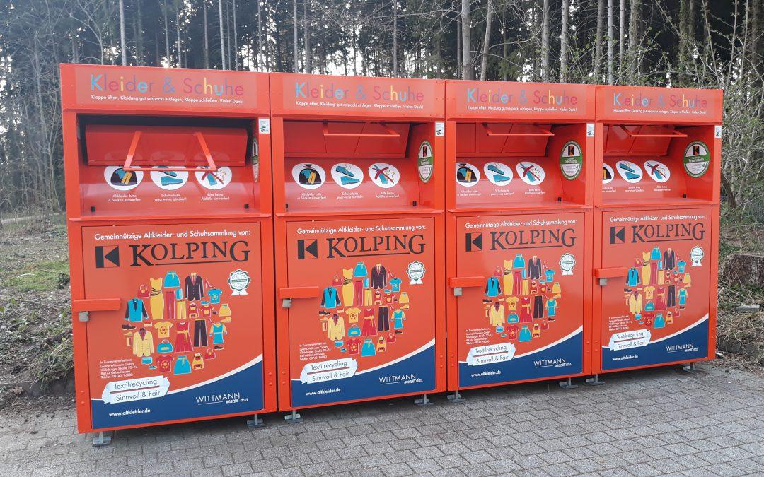 Neue Sammelcontainer für Altkleider und Schuhe im Stadtgebiet